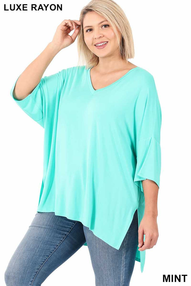 57 SSS-J {Already Ahead Of You} Mint Green V-Neck Tunic PLUS SIZE 1X 2X 3X