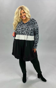 14 HD-C {Hard To Leave} Black Grey Leopard Hoodie SALE!! CURVY BRAND EXTENDED PLUS 3X 4X 5X 6X