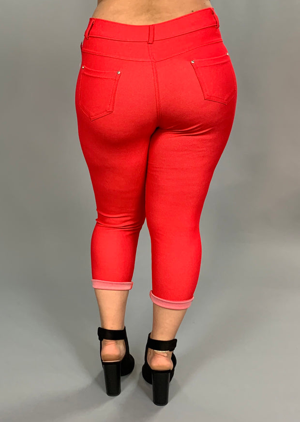 BT-W Capri Red Jeggings Rhinestone Button Detail PLUS SIZE