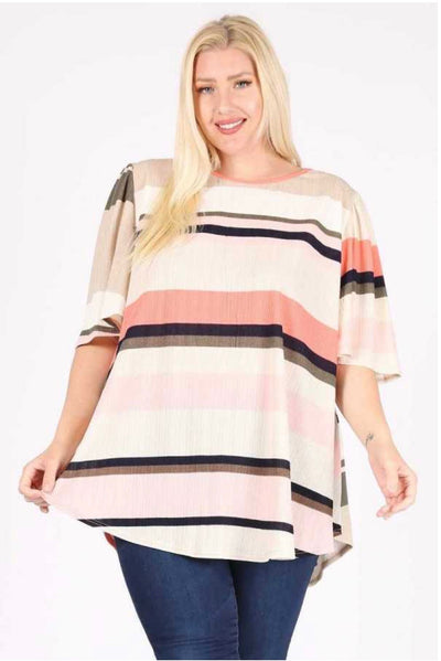 54 PSS-P { Elegant Lady} Coral Navy Ivory Striped Tunic EXTENDED PLUS SIZE 3X 4X 5X