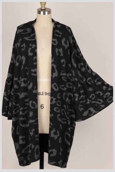OT-S {Stop And Stare} Black Animal Print Soft Knit Cardigan EXTENDED PLUS SIZE 4X 5X 6X