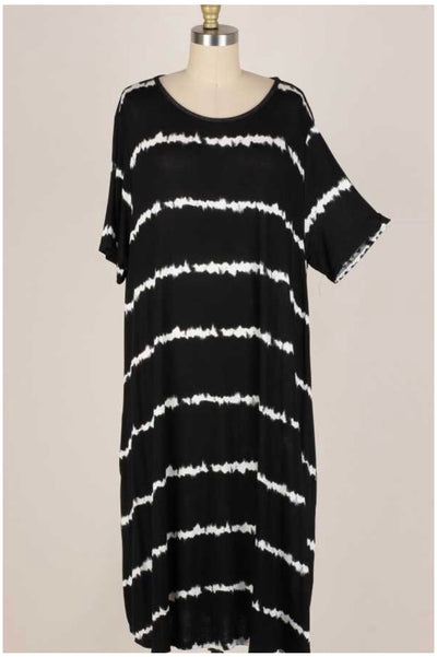 45 PSS-G {Night In Paris} Black/Ivory Bamboo Tie Dye Dress Extended Plus 3X 4X 5X