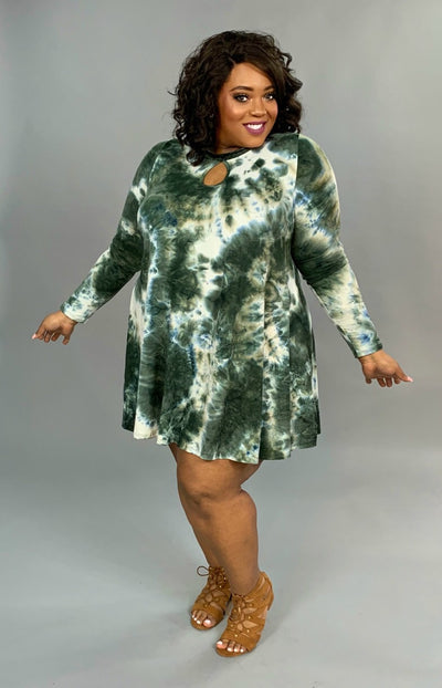 PLS-Q {Win Me Over} Olive Tie-Dye Keyhole Tunic Dress