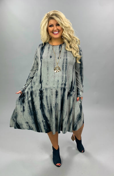 PLS-H {Only For You} Black Grey Tie Dye Long Sleeve Dress EXTENDED PLUS SIZE 3X 4X 5X