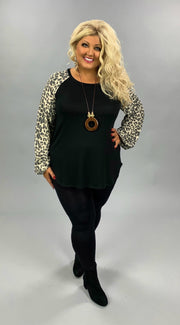CP-S {Fierce Loyalty} Black Tunic Leopard Waffle Bubble Sleeve PLUS SIZE XL 2X 3X