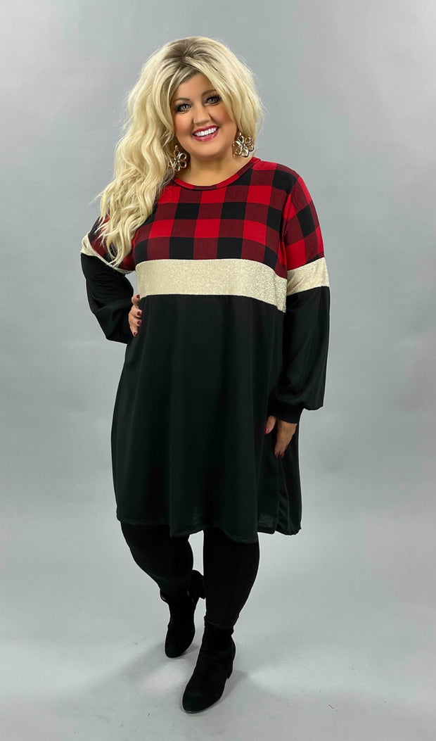 42 CP-E {Window Shopping}SALE!!  Red Black Plaid Glitter Dress  CURVY BRAND EXTENDED PLUS SIZE 3X 4X 5X 6X