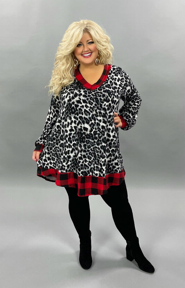 32 CP-E {Special Spirit} Grey Leopard Red Plaid Knit Tunic CURVY BRAND EXTENDED PLUS SIZE 3X 4X 5X 6X