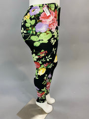 Leg-Z Black Leggings with Springtime Floral Print