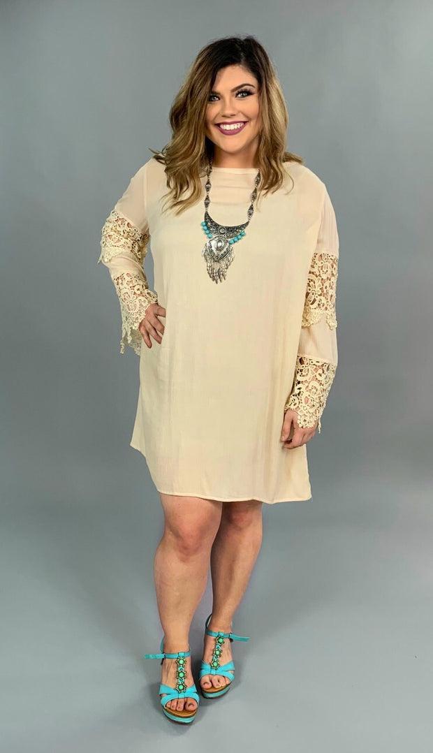 "SLS-K ""UMGEE"" Natural Beige Tunic with Crochet Lace Sleeve SALE!!"