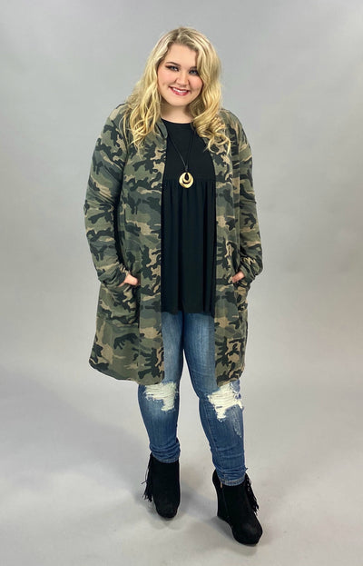 10-22 OT-I {On Your Own} Olive Camo Hooded Cardigan  PLUS SIZE XL 2X 3X