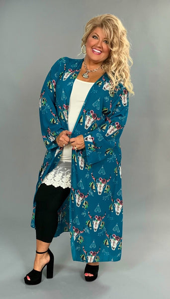 OT-G {Can't Live Without} Teal Cardi with Floral Bullhead Print SALE!!