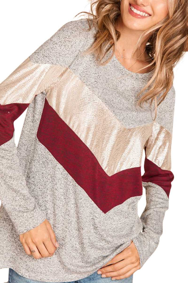 11-14 CP-H {Like A Champ} Grey Maroon Metallic Top PLUS SIZE XL 2X 3X