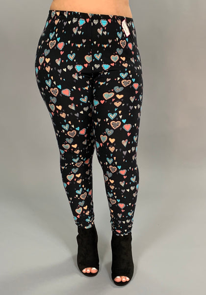 LEG/F - {Extended Plus} Black-Pink Heart Printed Leggings (Soft)