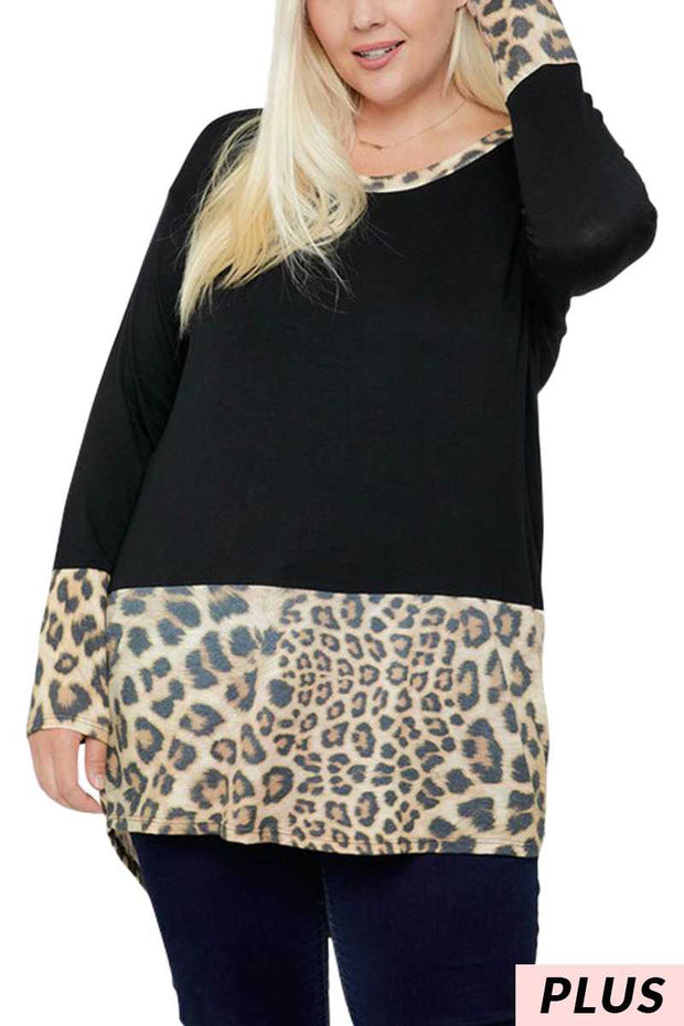 17 CP-M {Make It Up} Black With Leopard Detail Tunic PLUS SIZE XL 2X 3X