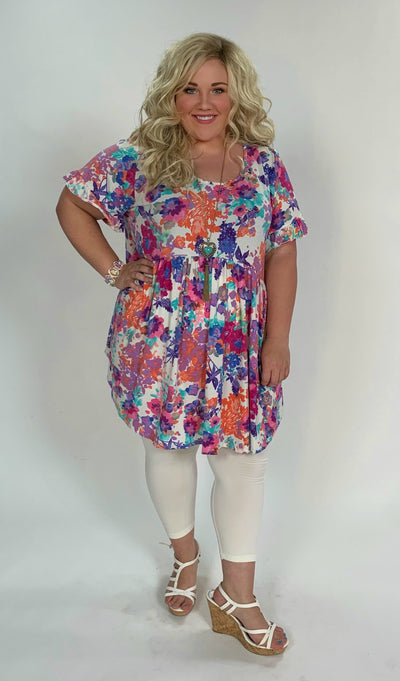 PSS-B {Make You Happy} White Floral Print Babydoll Tunic Extended Plus