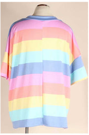65 PSS-I {Rainbow Joy} Multi Color Striped Tunic EXTENDED PLUS SIZE 4X 5X 6X