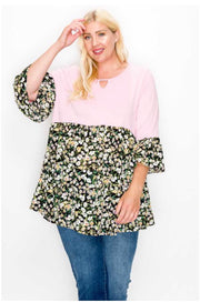 65 CP-K {Flirty Smiles} Lt. Pink Black Floral Contrast EXTENDED PLUS SIZE 4X 5X 6X