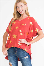 61 PSS-C {Hollywood Superstar} V-Neck Top with Front Pocket PLUS SIZE 1X 2X 3X