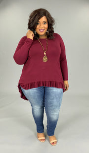 SLS-M {Blissful Days} Burgundy Hi-Low Top With Ruffle Hem EXTENDED PLUS 3X 4X 5X 6X SALE!!
