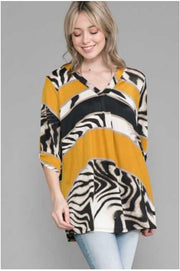51 CP-I {Invite Only}  Mustard Animal Print Tunic Extended Plus 4X 5X 6X