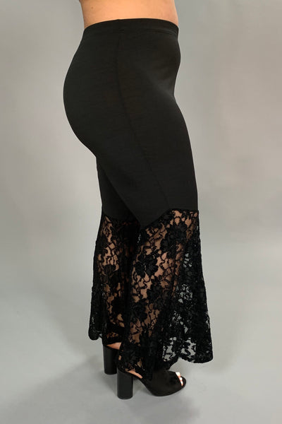 BT-Y {LOVE JANE} Black Wide Leg Pants with Lace Bottom