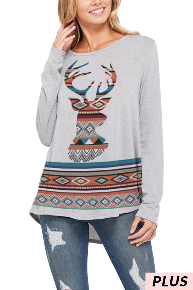15 GT-O {Deer Season} Aztec Deer Head Top PLUS SIZE XL 2X 3X