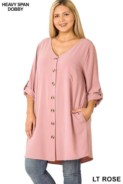 50 SQ-C (Stepping Out) Mauve Button Up Dress 1X 2X 3X Plus Size