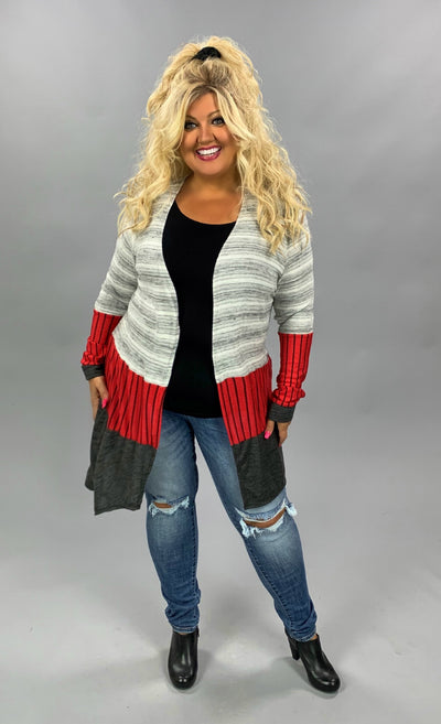 OT-O {Looking For Comfort} Grey, Red Stripe Cardigan PLUS SIZE 1X 2X 3X