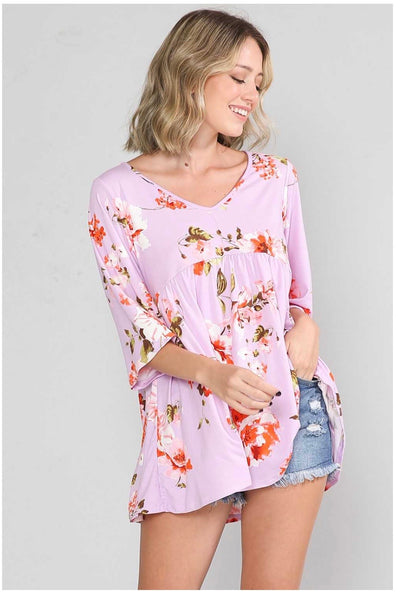 PQ-T {Lilac Gardens} Lilac Floral Print Babydoll Tunic EXTENDED PLUS SIZE 4X 5X 6X