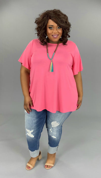 SSS-Q (Bring On Summer) Pink Tunic W/ Rounded Hem EXTENDED PLUS 3X 4X 5X 6X