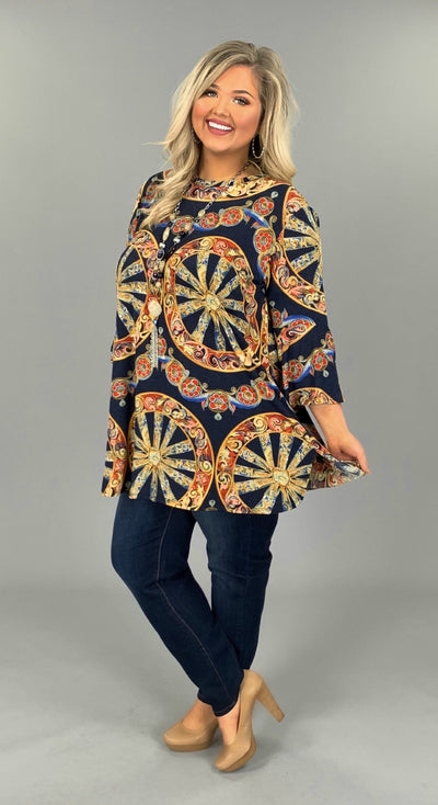 PQ-A {Halfway There} Navy/Multi Mandala Top with Pockets PLUS SIZE 1X 2X 3X