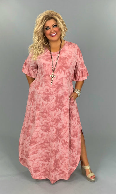 LD-F{My Love Does It Good}Mauve Tie-Dye Maxi Dress PLUS SIZE 1X 2X 3X