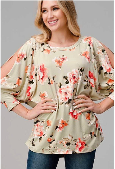 54 OS-D {Cold Rose}  Light Olive Floral Print Tunic Plus Size XL 2X 3X