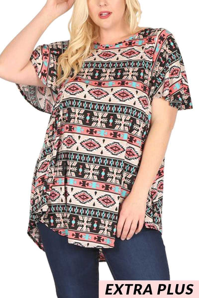 PSS-P {Ole' Mexico} Aztec Printed Top With Flutter Sleeves EXTENDED PLUS SIZE 3X 4X 5X