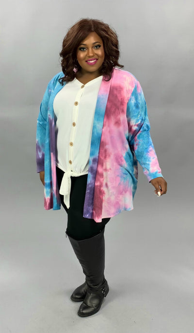 OT-D {Cotton Candy Kisses} Purple Teal Tie Dye Knit Cardigan EXTENDED PLUS SIZE 4X 5X 6X