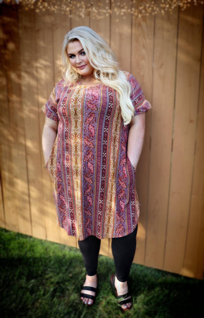 PSS-A {Gypsy Vibes} SALE!! Mustard, Brown Multi Paisley Print Dress PLUS SIZE 1X 2X 3X