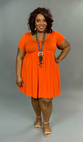 SSS-B {Full Swing} Orange Babydoll Dress with Side Pockets