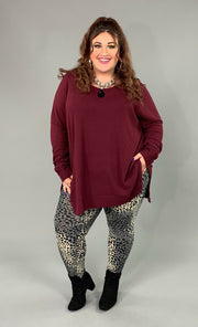 SLS-T {You Sang To Me} Burgundy Waffle Knit Top Split Sides PLUS SIZE 1X 2X 3X SALE!!