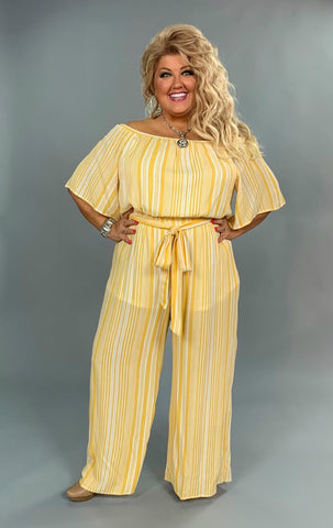 RP-S {Limited Edition} Mustard Striped Jumpsuit with Lining