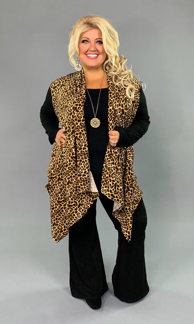 OT-V {Same Old Song} Asymmetrical Leopard Print Cardigan