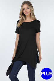 50 SSS-D (Cute & Sassy) Black Tunic with Tie Knot Detail 1X 2X 3X Plus Size