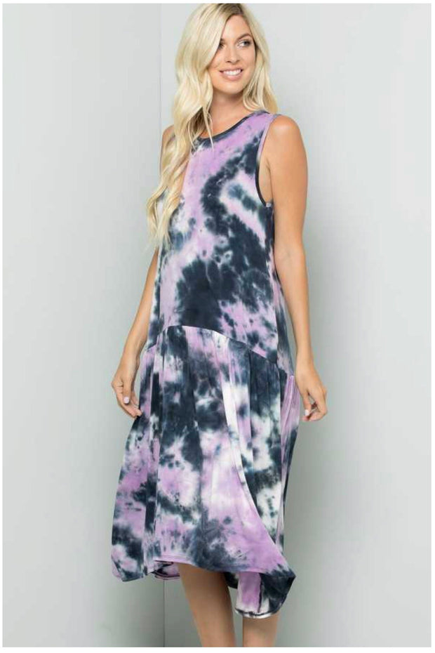 LD-B {Calming Vibes} Navy/Lavender Tie Dye Sleeveless Dress PLUS SIZE 1X 2X 3X