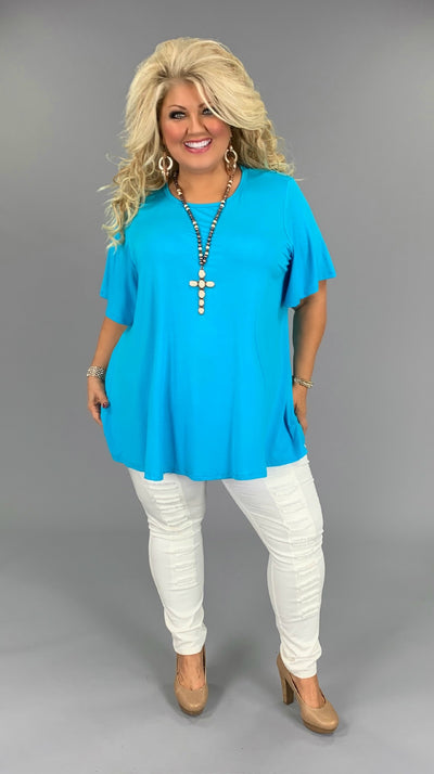 SSS-I (Bring on Summer) Aqua Tunic W/ Rounded Hem EXTENDED PLUS 3X 4X 5X 6X
