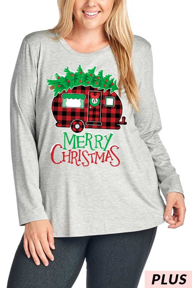11-14 GT-A {Merry Camper} Grey Red Plaid Camper Tee PLUS SIZE XL 2X 3X