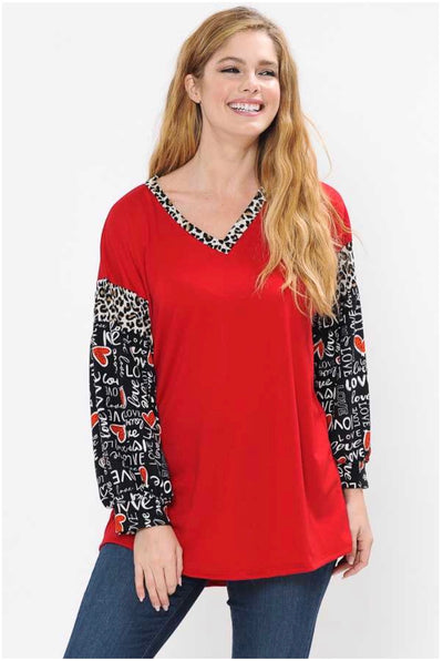 45-GT-F (P.S. I Love You) Red V-Neck Tunic with Printed Sleeves PLUS SIZE 1X 2X 3X