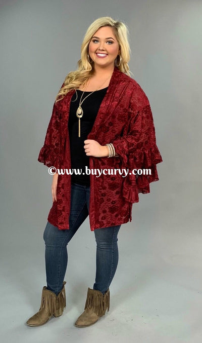 "OT-Q ""UMGEE"" {Absolutely Gorgeous} Burgundy Velvet Cardigan SALE!"