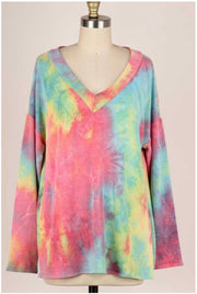 49 PLS-B {Lost In Time} Green Yellow Red Tie Dye V-Neck Top PLUS SIZE XL 2X 3X