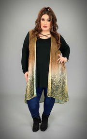 OT-D {Go Out In Style} Shimmering Gold Leopard Vest
