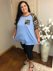 CP-X {Must Be Magic} Denim Blue Top With Leopard Contrast EXTENDED PLUS SIZE 3X 4X 5X 6X