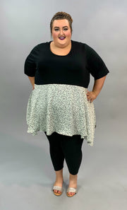 CP-Z {Can't Resist} Black & Ivory Animal Print Contrast Tunic CURVY BRAND EXTENDED PLUS SIZE 3X 4X 5X 6X